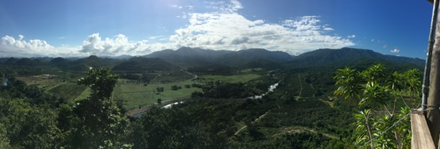 panoramic view from the lookout tower at Sleeping Giant rainforest lodge, the Sibun river and reserve