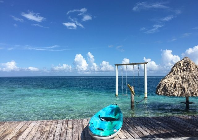 stunning blues off the tiny island of King Lewey's resort in southern Belize