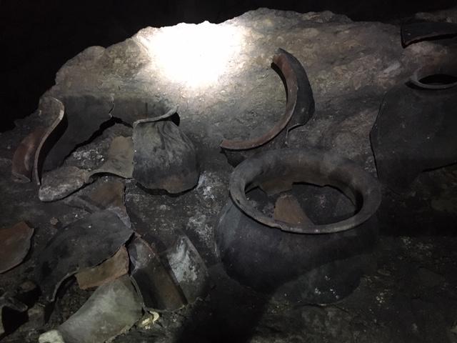 ancient maya artifacts, pottery shards