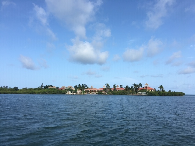 view from the Big Sipper booze cruise barge of the Placencia Peninsula