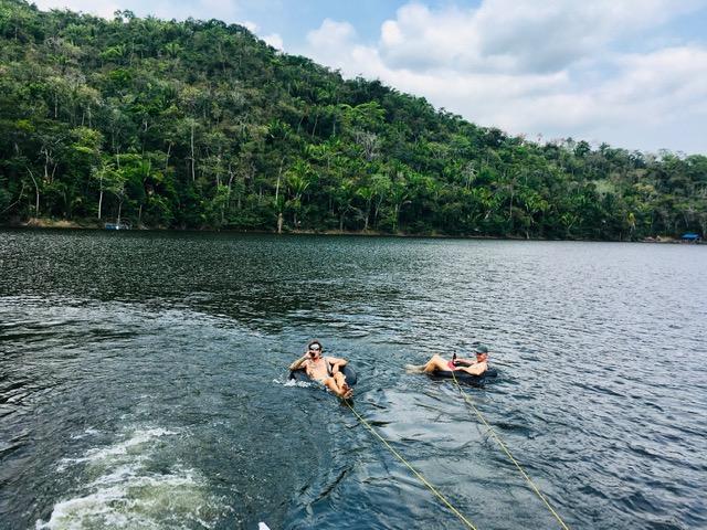 pontoon and tubing on vaca lake belize