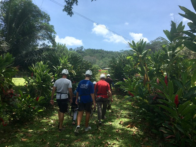 heading out to zip line Belize's longest course