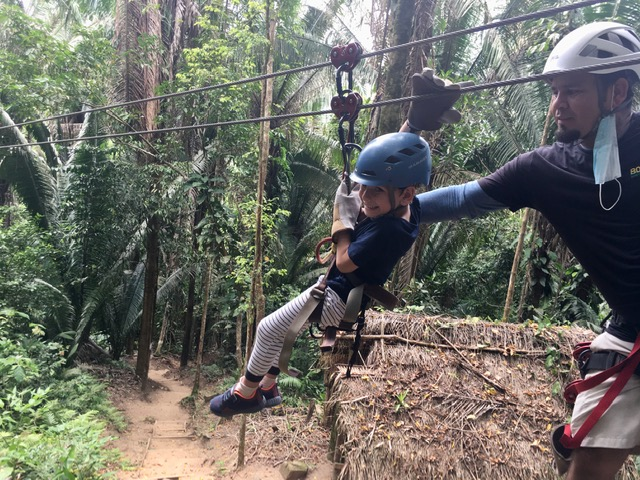 Mitch Nagengast ziplining Belize's longest course