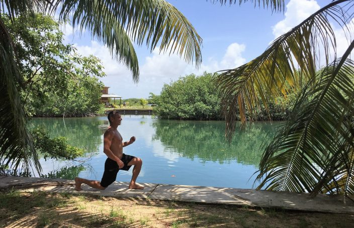 Lunges on the sea wall in Placencia- Real Life Recess