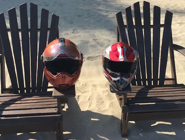 helmets on beach